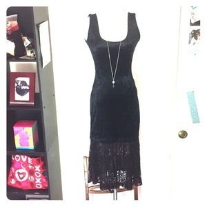 Crushed Velvet Body-Con Tank Dress w/ Lace Skirt